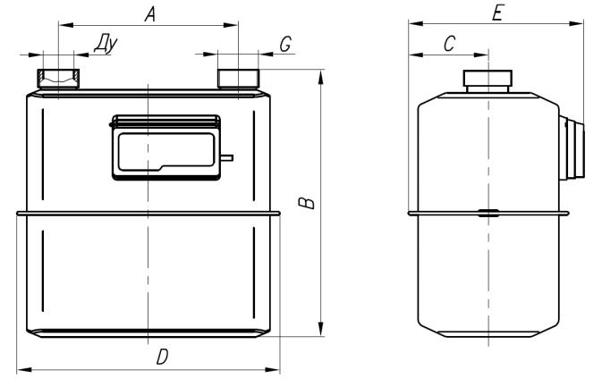 Счетчик газа BK G6T - габаритные размеры