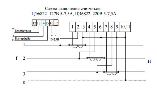 Счетчик ЦЭ6822 - технические характеристики